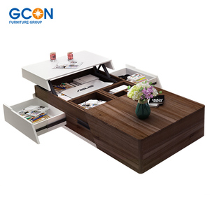 Modern living room foldable lift up wood center coffee table design