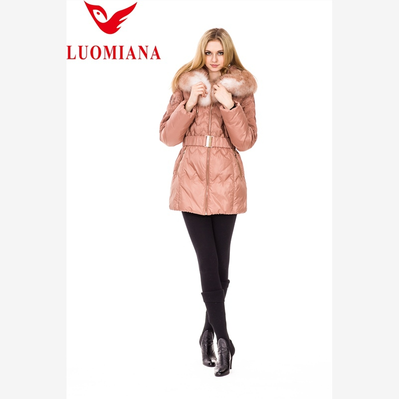 popular newest long pattern ladies lamb leather down jacket with hood