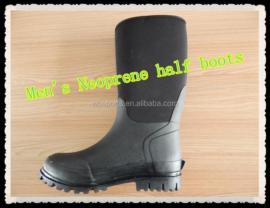 Men's Neoprene Half Boots/rubber Sole Boots