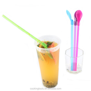 FT-300S Pink Biodegradable Plastic Pla Ice Cream Spoon With Straw Drinking Straws