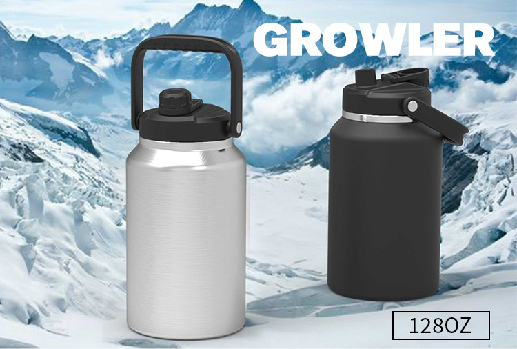 Growler Botol Air Besar Baja Tahan Karat, Botol Air Bir Stainless Steel Growler 64Oz 128Oz 1 Galon
