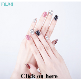 24 Pcs Different Size Short Press on False Nails Full Cover Square Nail Art Finger Nails With Package Box