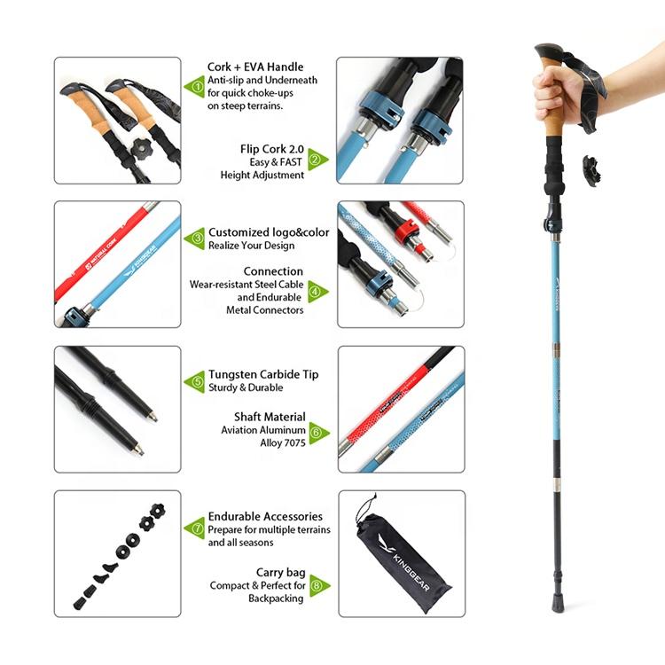 Hot Sale Adjustable Aluminum Trekking Hiking Poles Walking Stick