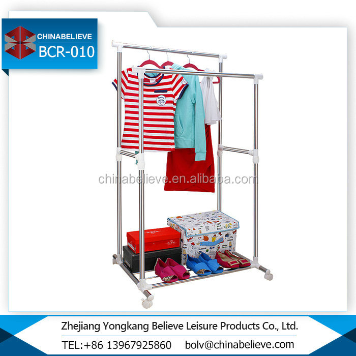 White Double Poles Balcony Folding Hanging Clothes Drying Rack
