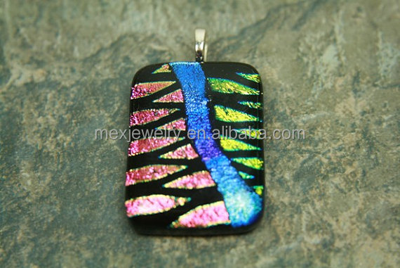 Unique pendant for men and women fused glass dichroic pendant jewelry