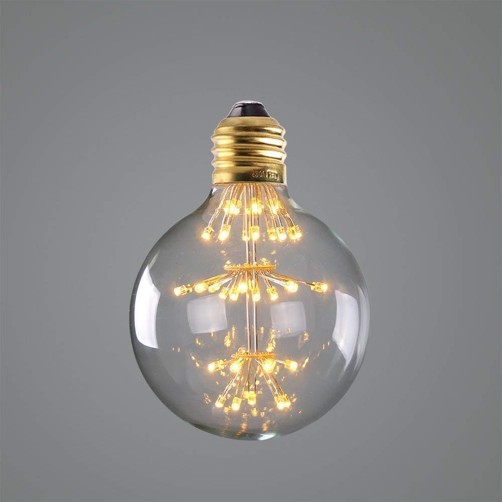 Century Light - 3W Dimmable LED Fireworks Filament Bulb, Edison G95 Style, Vintage Edison Design Warm Light Retro Holiday Decorations, 2200K Warm White, E26 Medium LED Starry Light Bulb,4Pack