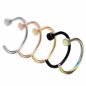 Cheap rainbow fake nose ring fake nose septum hoop non piercing body jewelry