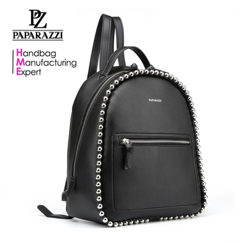 7439-Paparazzi newly design black eco-freindly PU customized leisure backpacks