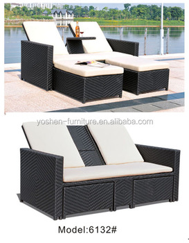 2 person double outdoor daybed with drink table indoor pool furniture