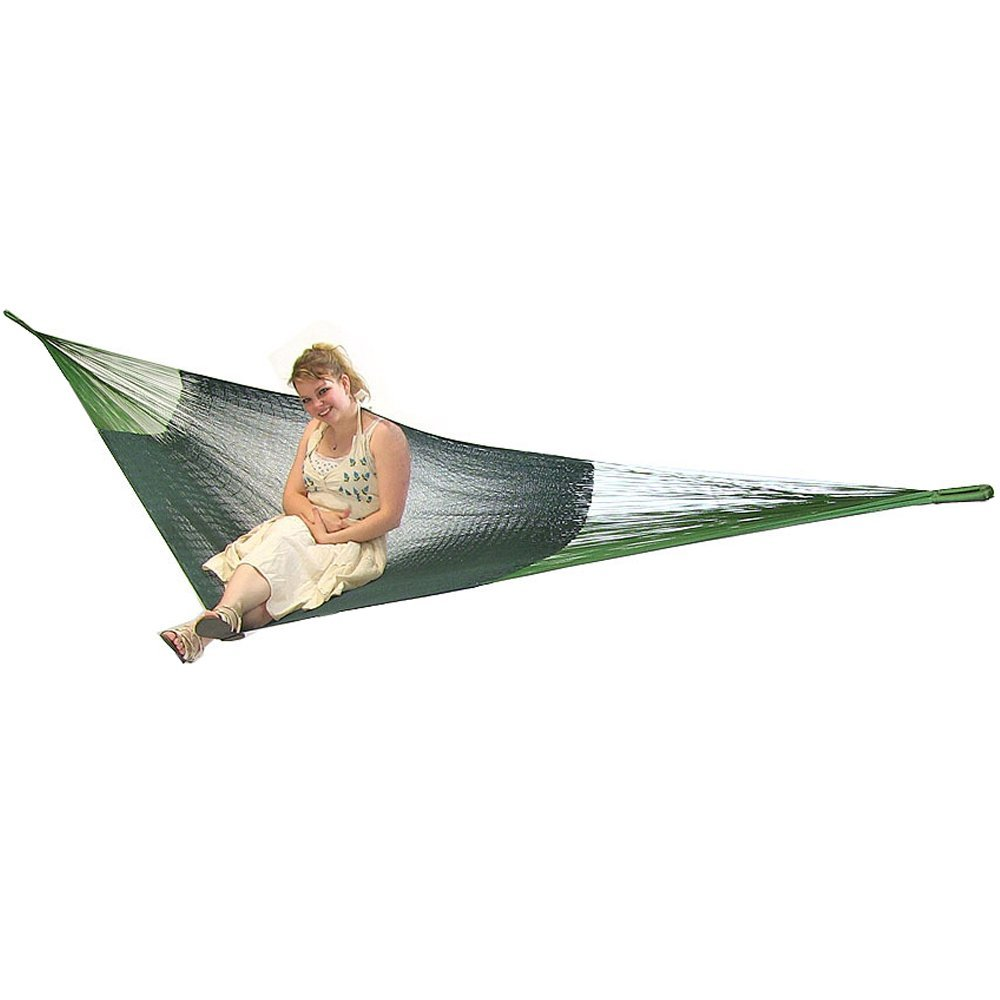 Sunnydaze Portable Hand-Woven 2 Person Mayan Hammock, Double Size, Green, 440 Pound Capacity