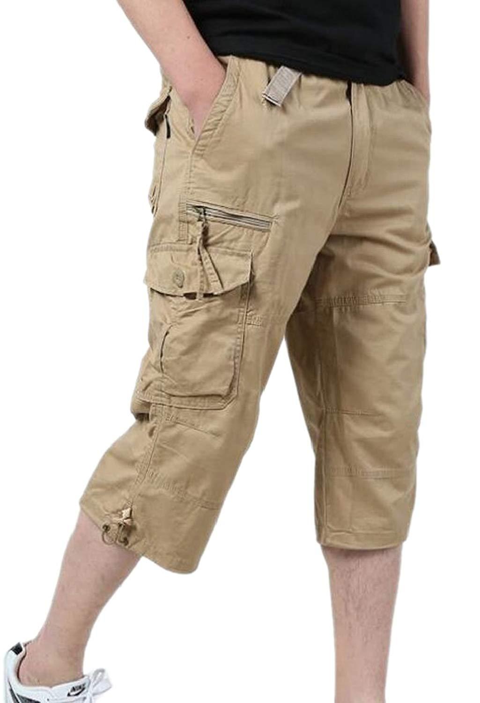 UUYUK Men Casual Multi-Pockets Plaid Loose Fit Outdoor Cargo Shorts