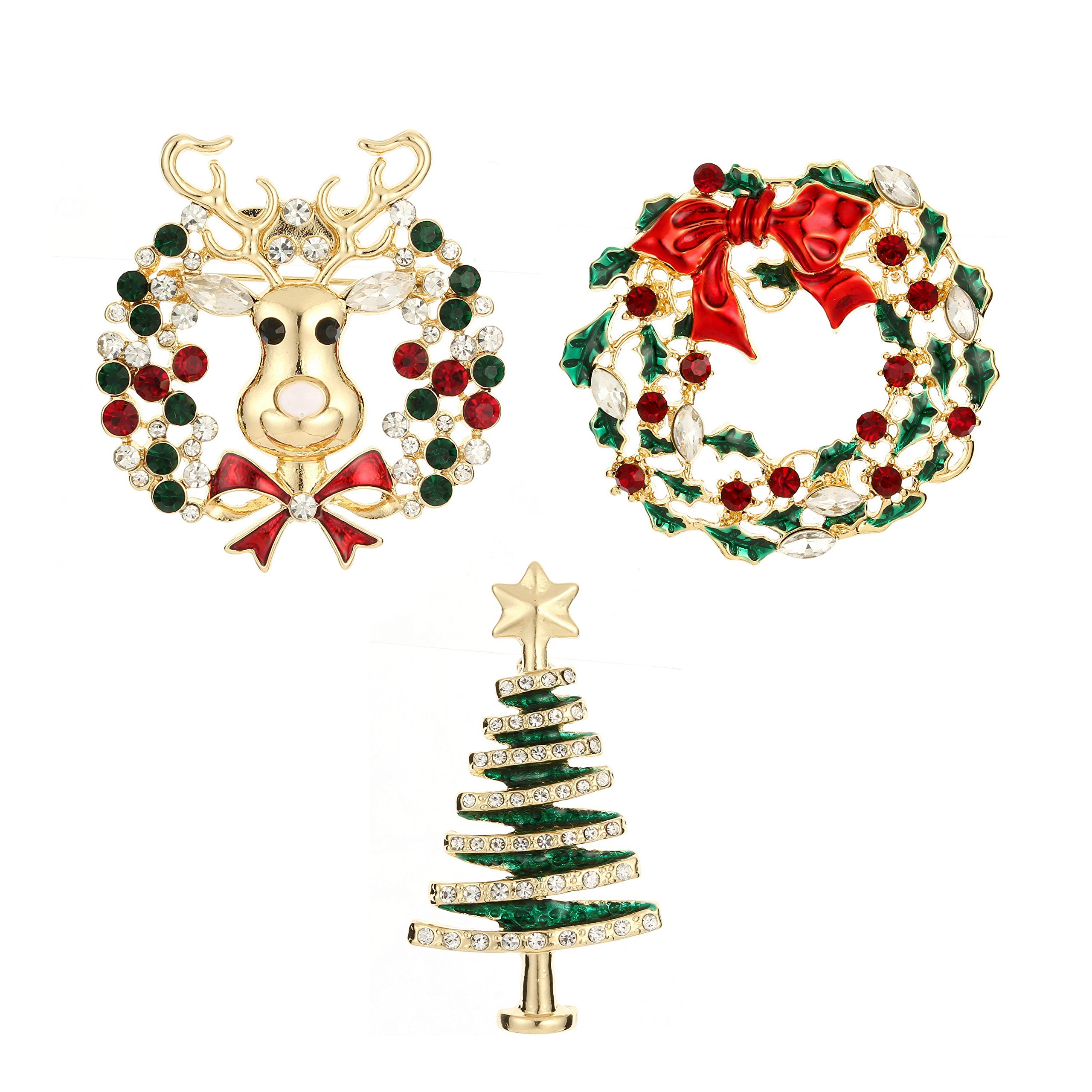 Get Quotations · Jewelry Christmas Brooch Pins set Holiday Brooch Christmas  Tree Snowman Xmas Pin Lot Party Favor Christmas 7d41d3247f4e