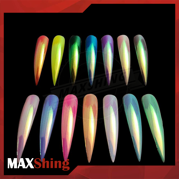 2018 New Aurora Powder Rainbow Mermaid Effect Nails Powder, Aurora Chrome Pigment Nails