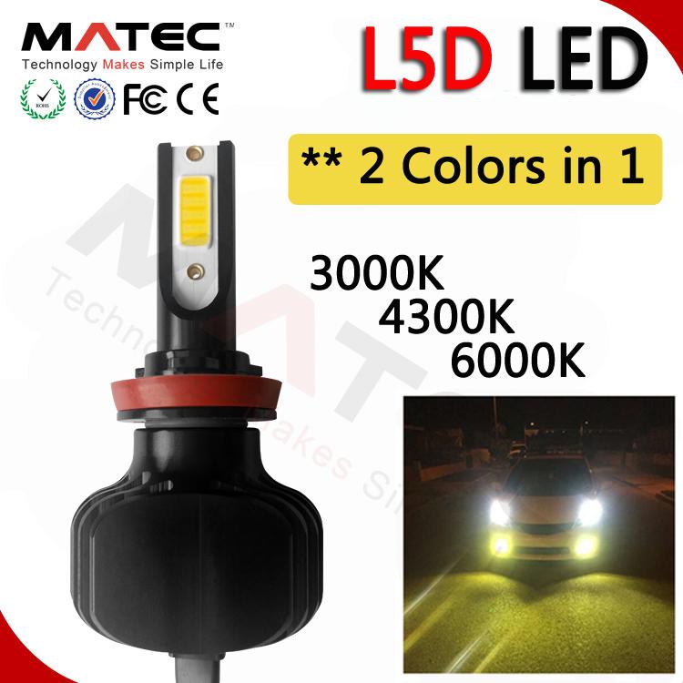 Rgb Dual Color Led Headlight L5d 9007 H4 Led Headlight Bulbs Fanless 60w 6000lm No Fan Buy Rgb Led Headlight 9007 Led Headlight Bulb Fanless Led