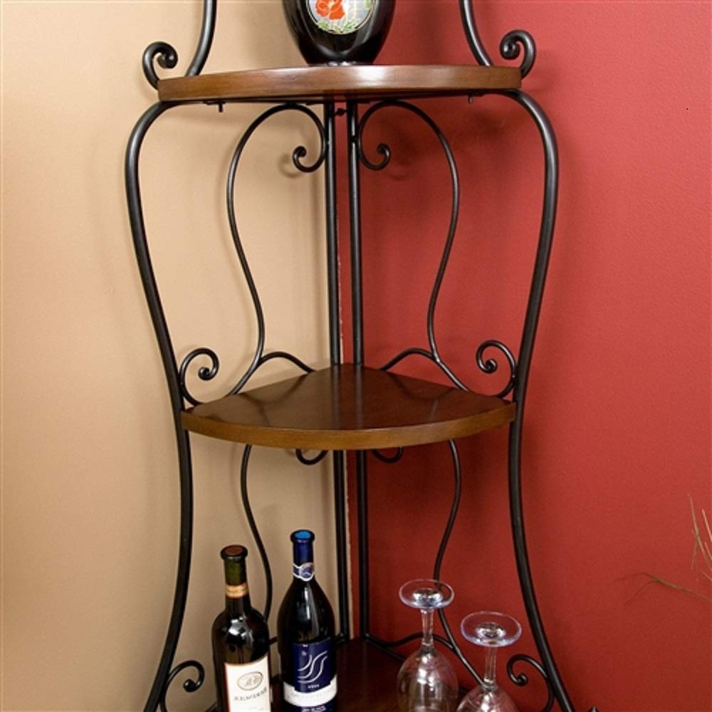 MyEasyShopping Space Saving Corner Bakers Rack with Wrought Iron Frame Corner Rack Bakers Shelf Metal Baker Stand S Plant Shelves Iron Rustic