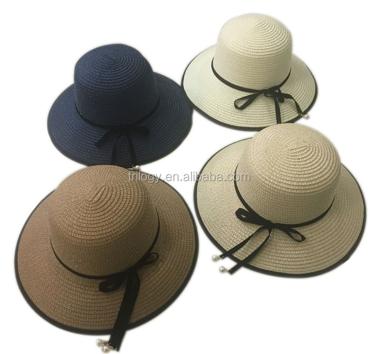 new style women infant paper straw hat chinese straw hat with pearl rope
