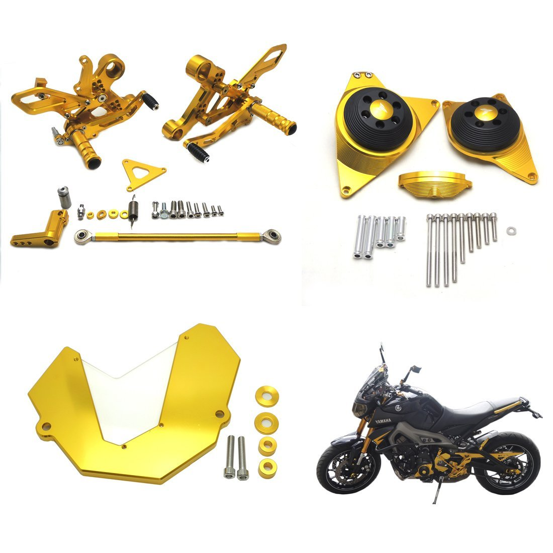 FZ09 Rearset Rear Set Foot Pegs Rest Pedal and Engine Guard Protector & Front Sprocket Cover for Yamaha FZ-09 2014-2015 Gold