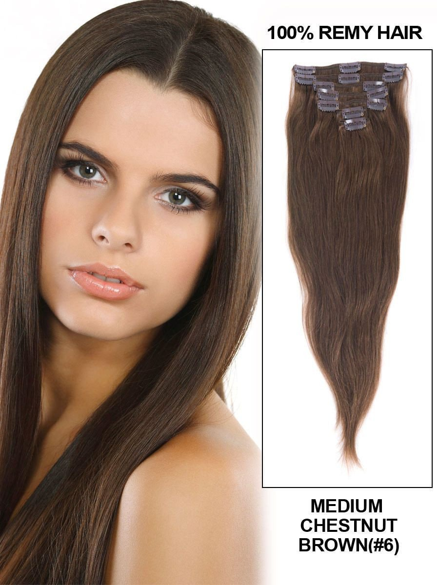 Tomorrow Lover® 2015 New Coming Brazilian Virgin Hair Clip in Extension #06 Medium Chestnut Clip in Hair Extensions for Black Woman (20 Inch 7Pcs 70Gram)
