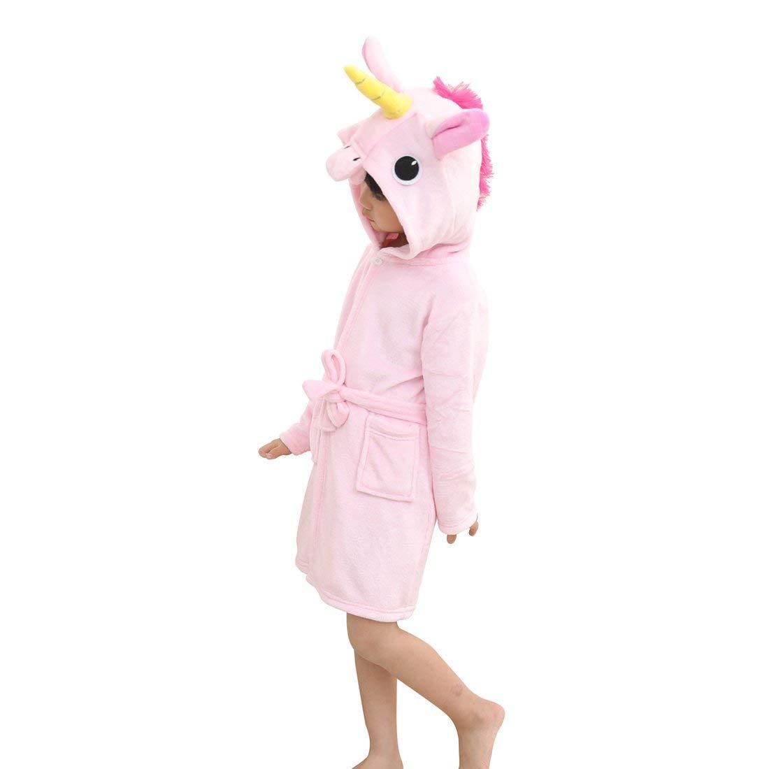 45564ca727 Get Quotations · Toddler Pink Unicorn Bath Robe Girls Boys Fleece Hooded  Bathrobe Kids Pajamas Children s Sleepwear Plush Kimono