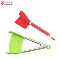 Amazon Hot Sale Factory Price 9inch Food Grade Silicone 2 in 1 Clever Tongs Spatula And Tongs For Cooking Grilling