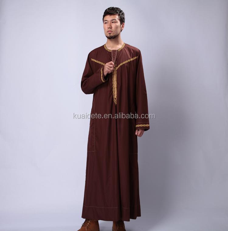 Newly Designed Muslim Men Thobe Clothing Islamic Arabian Men Robes ...