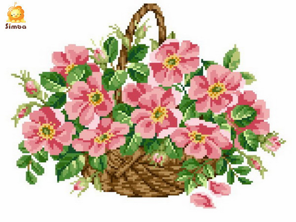 """18 C Thea Gouverneur Counted Cross Stitch Kit 13.5/""""X15.5/""""-Flower Basket On Aida"""