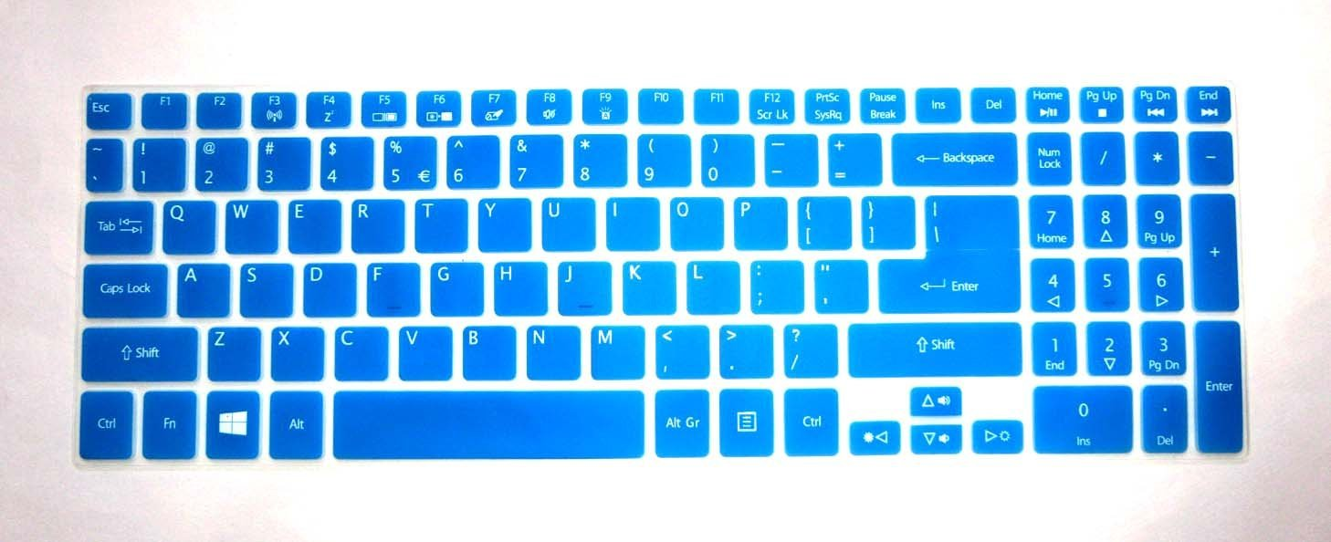 """BingoBuy® Semi-Blue Backlit Ultra Thin High Quality Silicone Keyboard Protector Skin Cover for Acer Aspire V5-552 V5-552G V5-552P V5-552PG V5-572P V5-573P V5-573PG V7-582P V7-582PG series(if your """"enter"""" key looks like """"7"""", our skin can't fit) with BingoBuy Card Case for Credit, Bank, ID Card"""