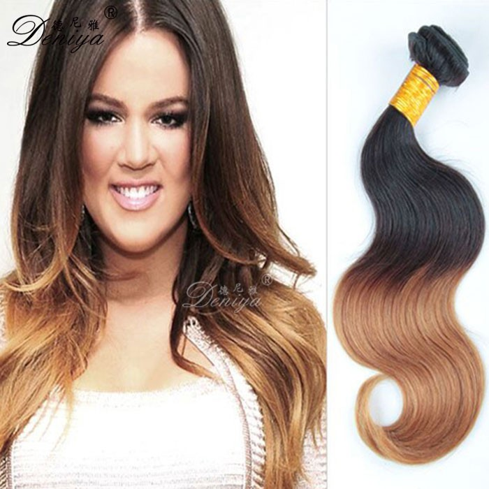 Ombre Hair Two Tone Sew In Human Hair Weave Dark Root Honey Blonde