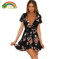 2018 new spring summer fashion women print dress short dress simple style v neck sexy flounced dress