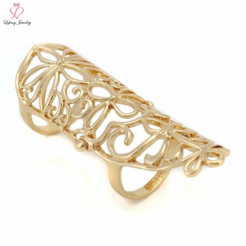 New Woman Latest Design Picture Lady Girl Long Gold Finger Ring