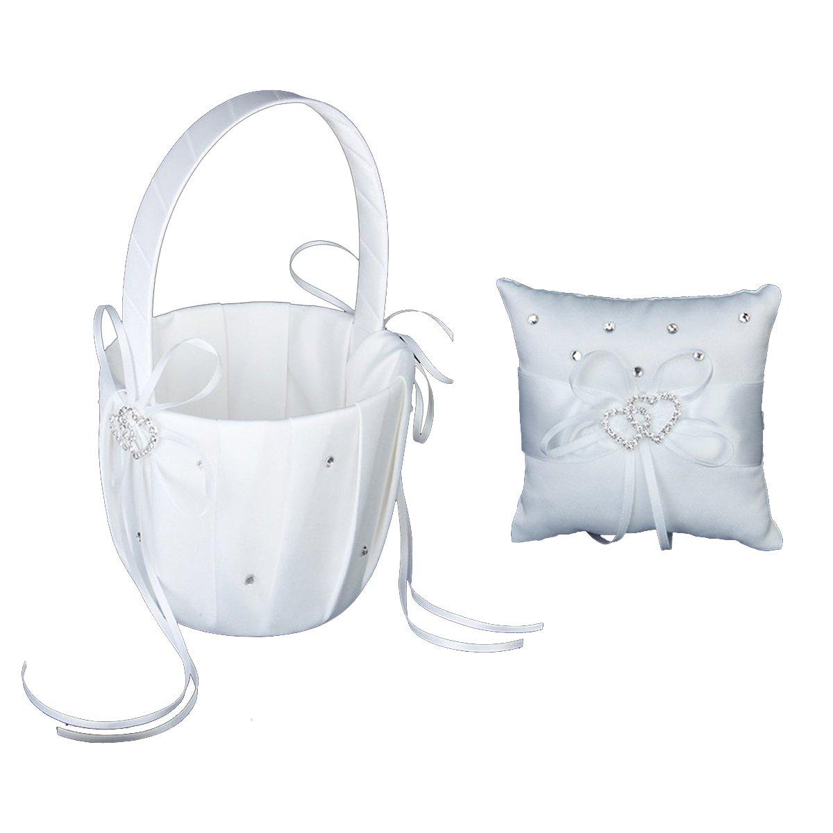 Pixnor Elegant Wedding Flower Girl Basket Double Heart Ring Pillow