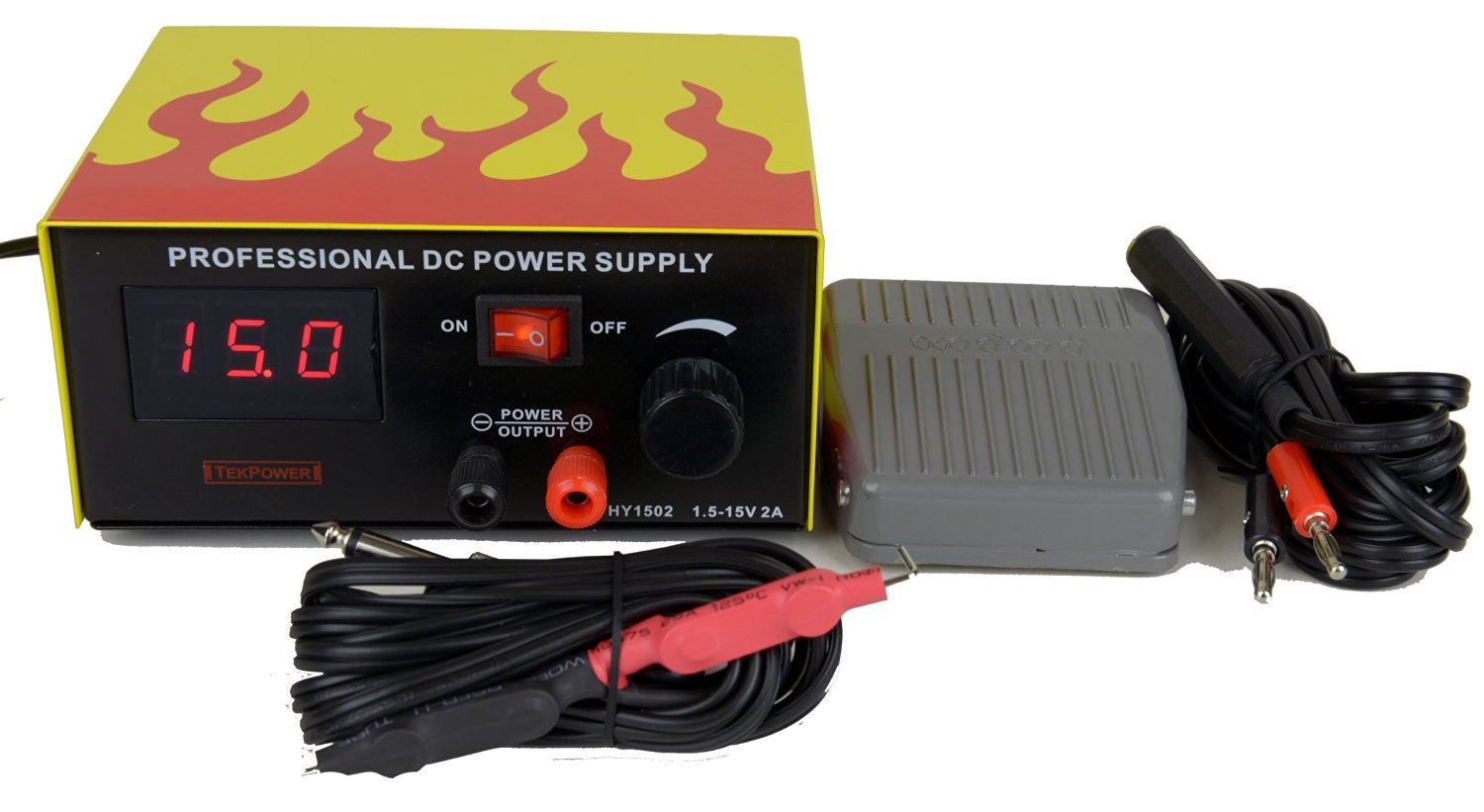Tekpower TP1502, DC Power Supply with Control Pedal for Tattoo, gaming and Lab