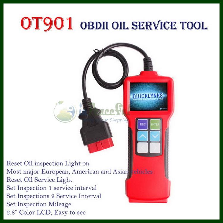 Профессиональный OBDII / JOBD автомобиль ойл сервис сброс инструмент цвет, свет обслуживания масла, инспекции пробег OT901