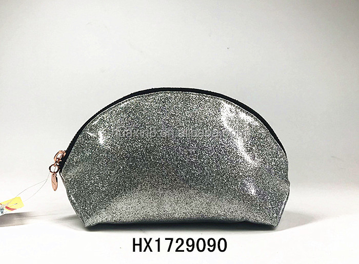 High quality fashion grey waterproof glitter PVC makeup pouch for women