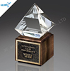 New Style Blank Crystal Diamond Trophy With Wooden Base