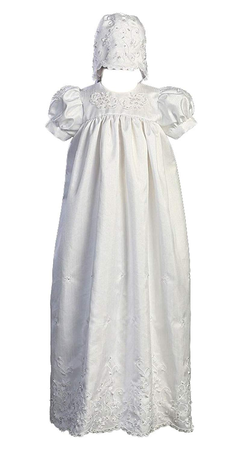 Hand Smocked Suma Long Christening Gown White Cotton Fabric Baptism Gown Bonnet and Bloomers Included
