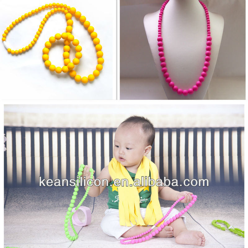 2014 Handmade Food-Safe Autism Design Baby Teeth Teething Jewelry/FDA Silicone Teething Beads Necklace Wholesales