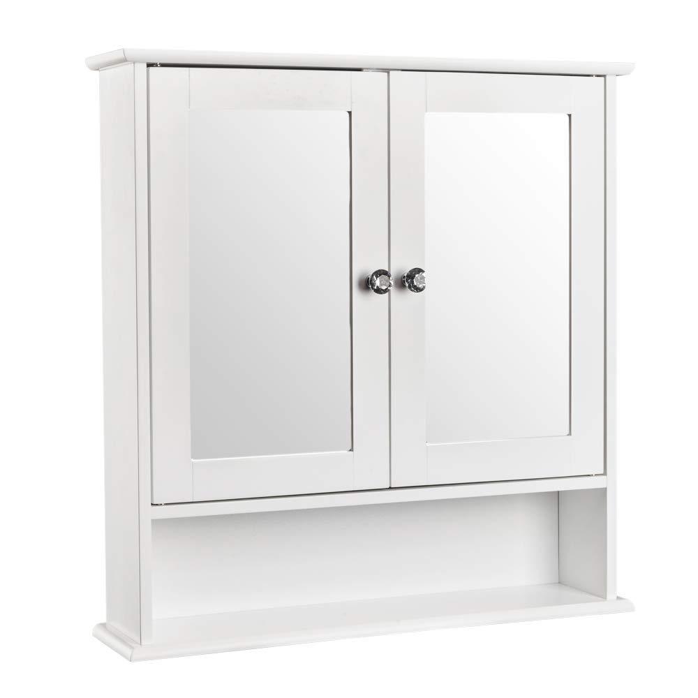 White Wood Bathroom Wall Cabinet