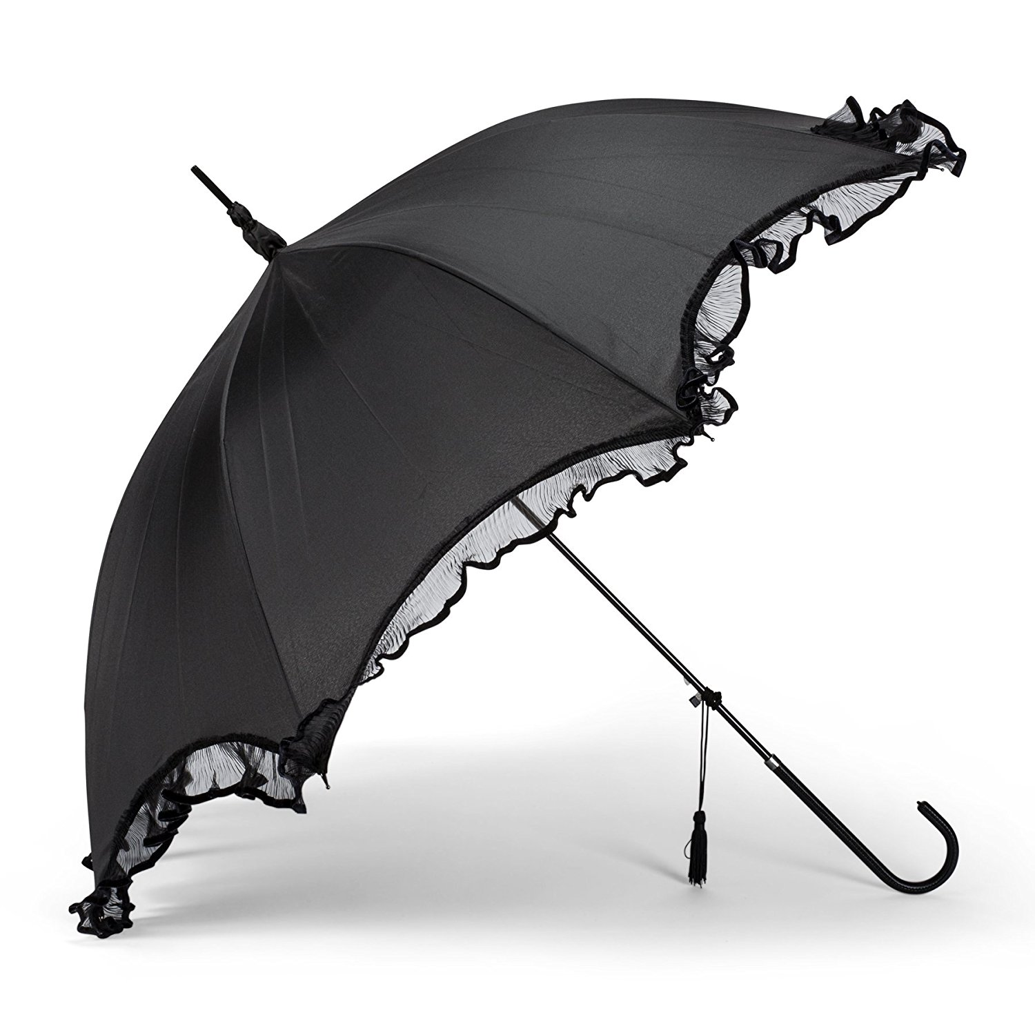 """Abbott Collection Umbrella with Frilly Lace, 40"""", Black"""