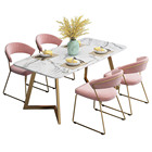 Nordic modern simple elegant dining room sitting room rectangular marble table chair set