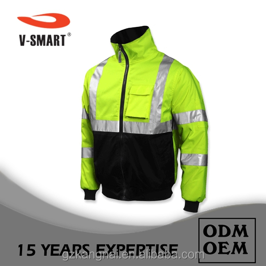 Lime green high vision workwear flame resistant waterproof anti UV uniform jacket clothing customization OEM guangzhou factory