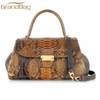 Real Python Snakeskin Handbags Women Genuine Leather Hand Bag Shoulder Tote For Lady
