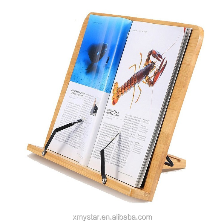 Verstelbare Bamboo Book Stand Kookboek Stand / Houder Reading Rest Holder Ipad Stand Multipurpose Portable Desk Bookrest with Book