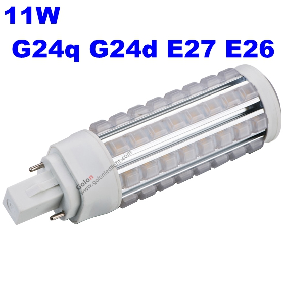 11w g24 led pl light 3 yeas warranty g24q g24d e27 e26 base led bulb replace g24 26w dhl fedex. Black Bedroom Furniture Sets. Home Design Ideas