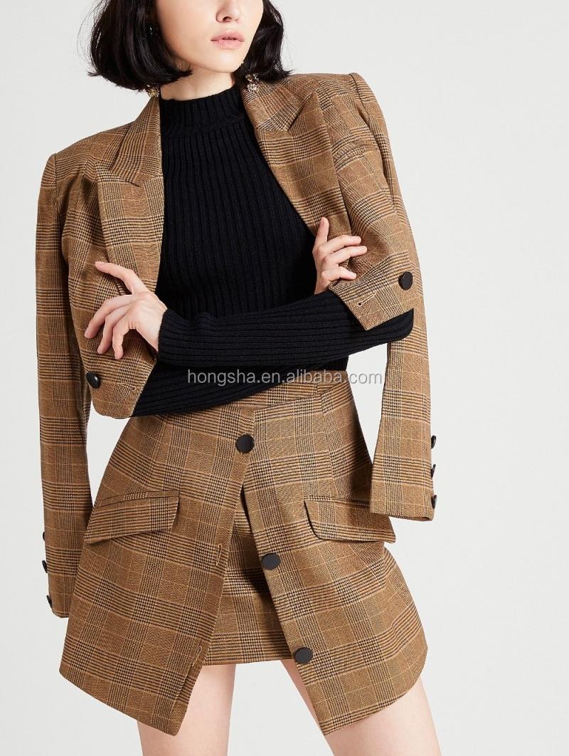 d1a4da5878 Clásico de dos piezas conjunto cultivo Blazer chaqueta y Mini Falda Mujer  traje de pantalones cortos