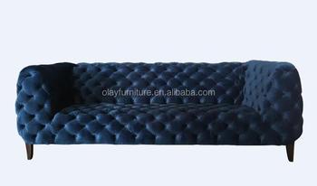 2017 New Blue Velvet Chesterfield Button Tufted Sofa SF 0882 Velvet Cozy Chesterfield  Sofa Sets