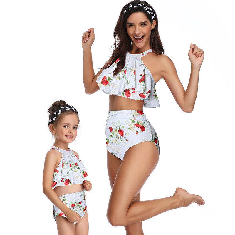 Super Cute Mother And Daughter Swimsuit Fashion Ruffled Bikini Set More Favorable