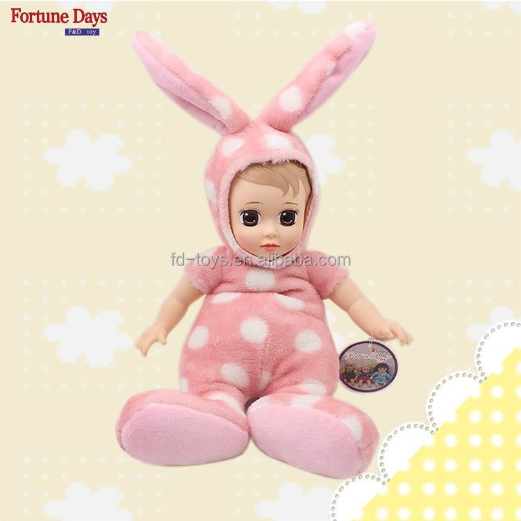 (YW-XR161208) Wholesale cute sleeping baby doll stuffed plush toy <strong>rabbit</strong> doll