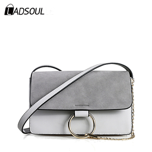 New Fashion Scrub Hit Color Pu Leather Women Messenger Bag