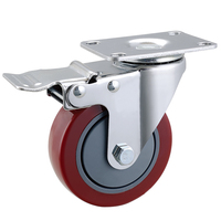 Top plate swivel PU castor wheel with brake